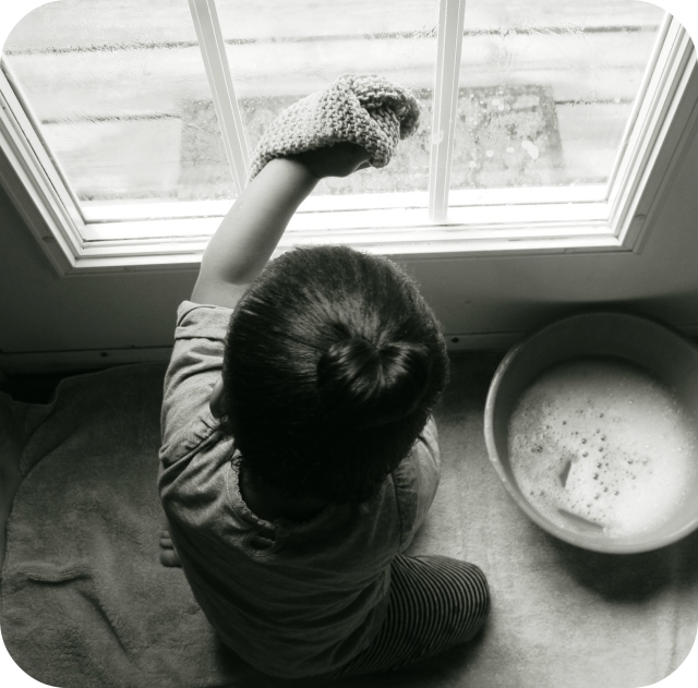 Toddler Practical Life: Window Cleaning